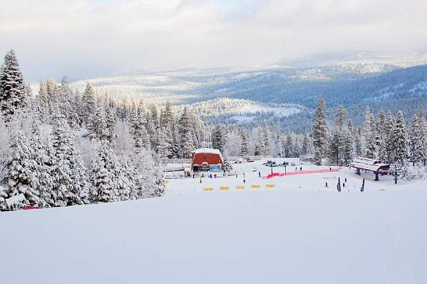 An area of Northstar California Resort near Truckee, Calif., is blanketed with snow on Thursday, Nov. 22, 2018. Forecasters reported 7 inches (18 centimeters) of snow fell early Thursday. Another Pacific storm system is headed for Lake Tahoe where nearly a foot of snow (30 centimeters) fell overnight and one ski resort has closed due to inclement weather. (Northstar California Resort via AP)