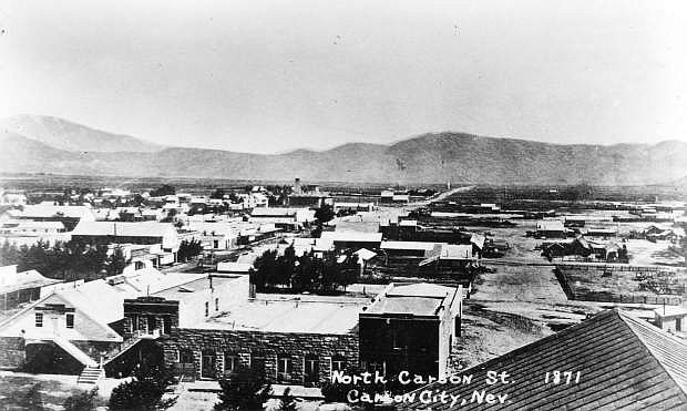 Carson City looking north from the top of the Capitol building in 1871.