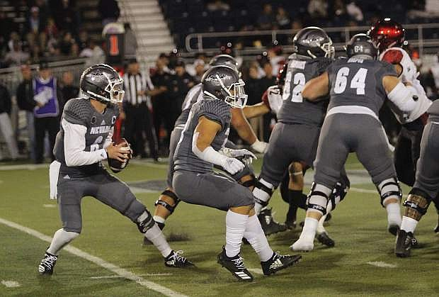 Nevada quarterback Ty Gangi sets up against San Diego State during their Oct. 27 game at Mackay Stadium.
