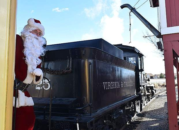 Santa Claus prepares to meet families riding on the Santa Train at the Nevada State Railroad Museum in Carson City in 2017. The 34th year of Santa Train debuts Dec. 8 and tickets can be purchased online now.