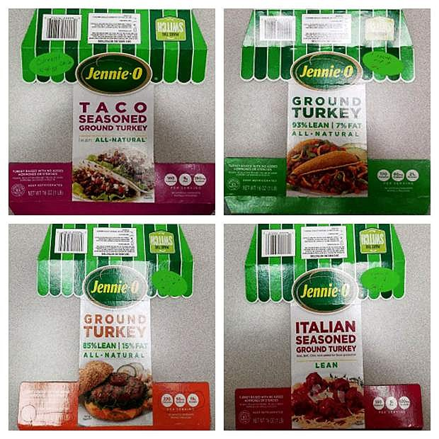 This combination of images provided by Hormel on Friday shows packaging for four types of Jennie-O ground raw turkey with a P190 designation which have been recalled due to concerns over salmonella. Salmonella in food is estimated to be responsible for 1 million illnesses a year, with symptoms including vomiting, diarrhea and stomach cramps.