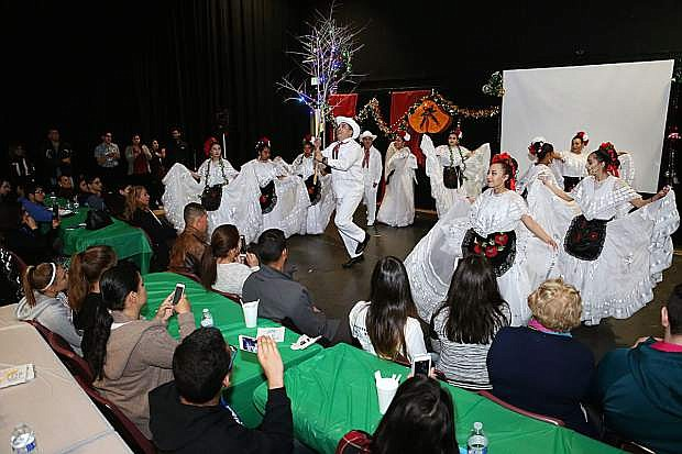 Dancers with the Ballet Folklorico International in Reno perform at the Posada Celebration at Western Nevada College in Carson City on Dec. 16, 2017.