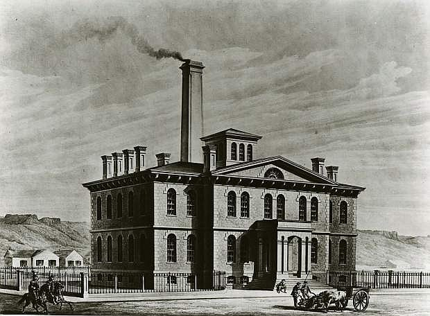 A drawing of the U.S. Mint, now the Nevada State Museum, whose first stone was laid in 1866.