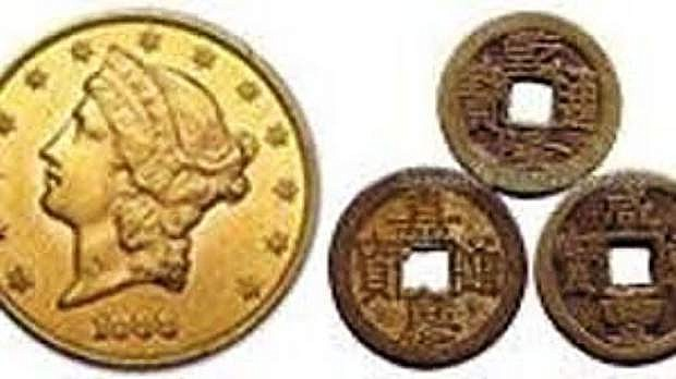 Gold coins found at Lovelock Chinatown.