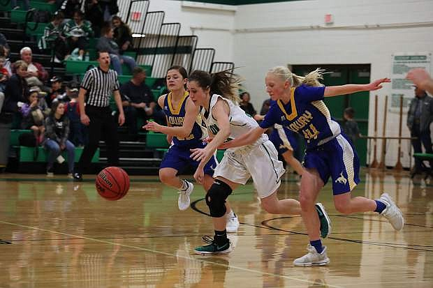 Fallon senior Kenna Hamlin goes after the loose ball against Lowry in Friday's rematch of the last two state title games.