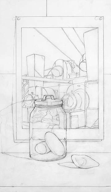 """Dennis Angel's preparatory drawing, """"Rocks, Glass Jar with Sheeler,"""" graphite on mylar, 12 inches by 21 inches, made in 2017."""