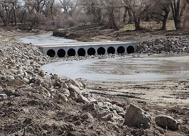 A bridge and culverts to ease the flow of the Carson River at Diversion Dam west of Fallon was recently completed and crews finished last-minute work earlier this week.