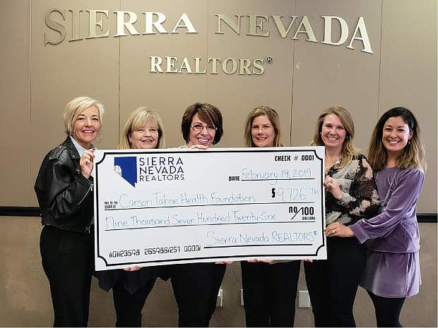 From left, Kitty McKay, director of Care Experience and Foundation Development, Carson Tahoe Health; Cheryl Smith, CEO of Sierra Nevada Realtors; Sandee Smith, past SNR president and Realtor, Realty Executives Nevada's Choice; Leslie Cain, SNR president and Realtor, RE/MAX Realty Affiliates; Christine Burau, Business Development, Western Title and head of SNR Community Outreach Committee; and Amy Hyne-Sutherland, Foundation Development Officer, Carson Tahoe Health.