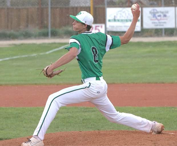 Hayden Strasdin pitches the entire game to shut down the Spartans at the Northern 3A regional baseball championships.