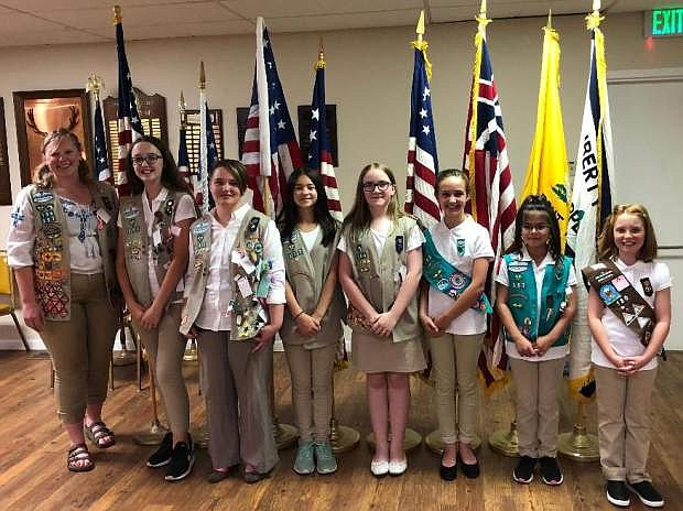 Girl Scout troops 317, 164, 105, 35 and 180, left to right, Gilly Mandel, Gold Star recipient, Emma Spears, Neva Mellow, Eva Lindbloom, Emily Houle, Vivi Mellow, Alivia Lindbloom and Renee Bellow.