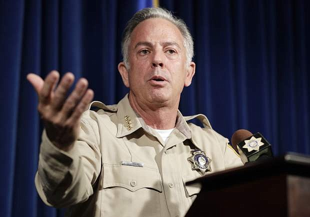 FILE - In this Aug. 3, 2018, file photo, Clark County Sheriff Joe Lombardo speaks at a news conference regarding the Oct. 1, 2017 mass shooting in Las Vegas. The head of the Las Vegas police department is scheduled to release what he calls an after-action report about the deadliest mass shooting in modern U.S. history.  Lombardo says the review he'll release Wednesday, July 10, 2019, aims to show what other law enforcement agencies can learn from the shooting that killed 58 people and injured more than 850. (AP Photo/John Locher, File)