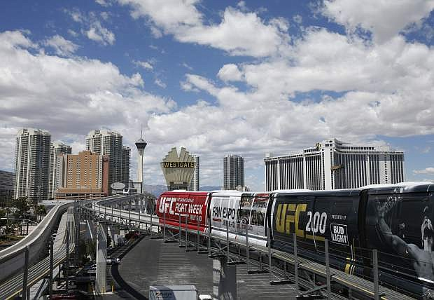The Las Vegas monorail leaves a station on May 18, 2016.