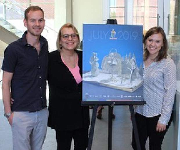 Carson City artist Debbie Lambin, center, with her son John-Henry and daughter Rachael will exhibit their sculptures in libraries, museums, independent bookstores and points of interest following Highway 95 southbound in Northern Nevada cities beginning this month.