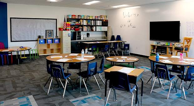 A Mark Twain Elementary School classroom awaits students during recess Monday on the first day of the 2019-20 school year. The school received about 13,000 square feet in additional space this summer with capital projects work that was completed and four portables were taken away from the campus.