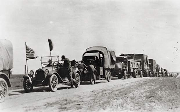 A convoy consisting of 81 vehicles traverses the Lincoln Highway.