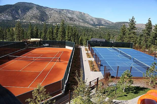 Along with the red clay tennis courts at Clear Creek Tahoe's summer camp, pickleball courts and pool access are right next door.