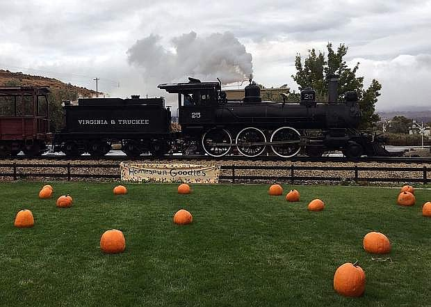 Pumpkins are scattered on the grass at the Nevada State Railroad Museum in advance of the annual Harvest Train Weekend, Oct. 19-20.
