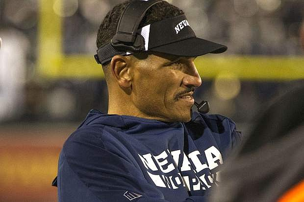 Nevada head coach Jay Norvell works the sidelines against Hawaii during the second half of an NCAA college football game in Reno, Nev., Saturday, Sept. 28, 2019. (AP Photo/Tom R. Smedes)