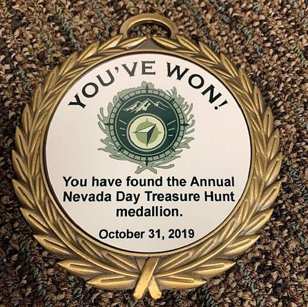 The new medallion that will be hidden during the Nevada Day Treasure Hunt. The hunt starts Tuesday.