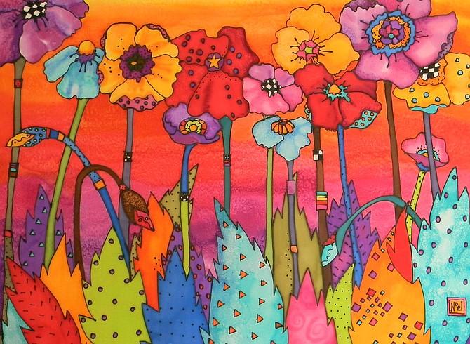 """Big Poppies"" silk painting by Louise Noel of Gardnerville."