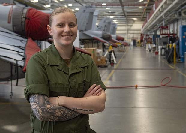 Navy Airman Sydney Cates of Dayton serves with the Electronic Attack Squadron 137 at Naval Air Station Whidbey Island, Wash.