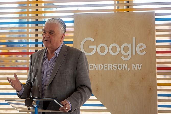 Nevada Gov. Steve Sisolak speaks at the Google data center groundbreaking on July 1 in Henderson, where the inaugural Nevada Google.org Impact Challenge was also announced.
