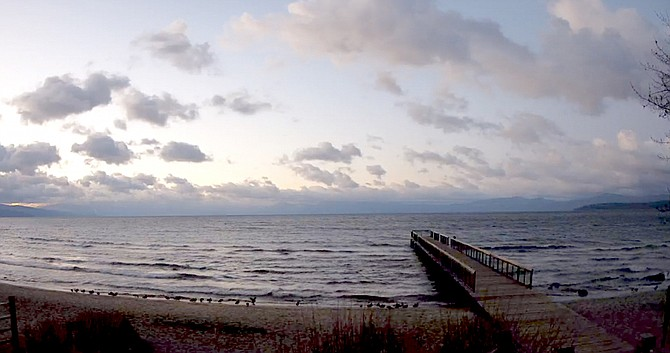 All is calm Monday morning at Lake Tahoe before an expected storm hits Tuesday afternoon.