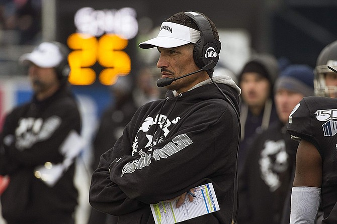 Nevada head coach Jay Norvell on the sidelines against UNLV in Reno on Nov. 30.