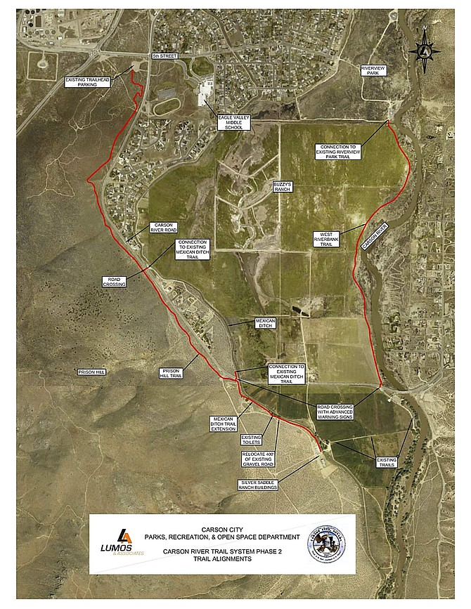 The second phase of the Carson River Trail, in red, will extend three miles from the 5th Street trailhead parking lot to Riverview Park.
