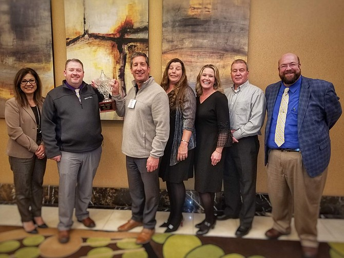 Carson City School Board trustees Lupe Ramirez, left, Mike Walker, Joe Cacioppo, Stacie Wilke-McCulloch, Laurel Crossman, Richard Varner and Don Carine were honored in November by the Nevada Association of School Boards as the state's 2019 School Board of the Year. The school district and trustees received four out of 19 of this year's NASB awards.