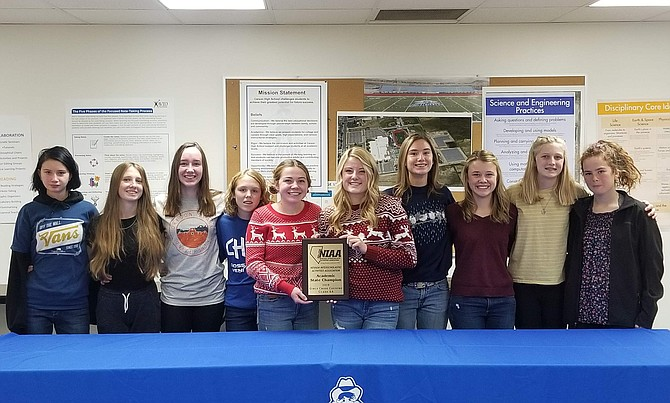 The Carson High School Girls Cross Country team, from left, includes Isabel Cartier, Ava Brehm, Katie Schulze, Sydney Romeo, Hailey Ponczoch, Hannah Kaiser, Claire Cartier, Julia Kaiser, Sami Schofield and Ginger Cullom.