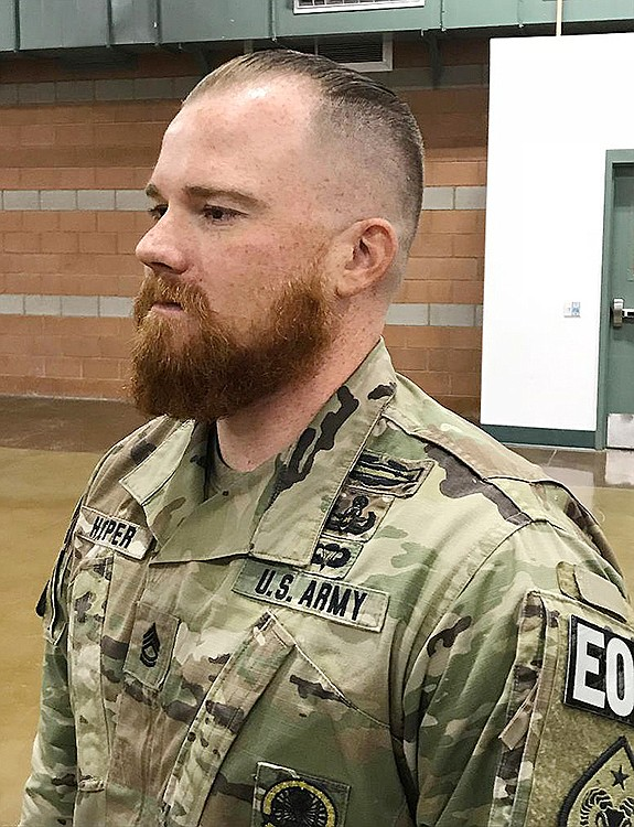 Acting first sergeant Sgt. 1st Class Benjamin Hopper, deployed in Afghanistan with the 3665th Ordnance Company, is the first Nevada Army Guard soldier to receive a religious accommodation for a beard.