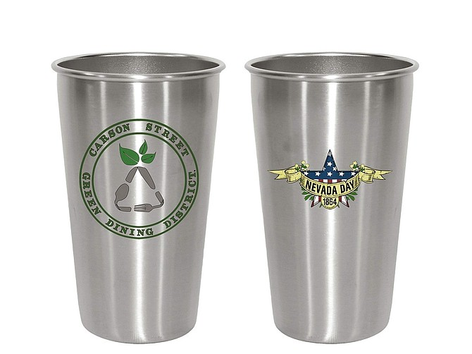 Commemorative cups from Nevada Day that can be used to get discounts at restaurants.