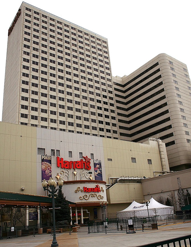 A look outside Harrah's Reno in downtown.