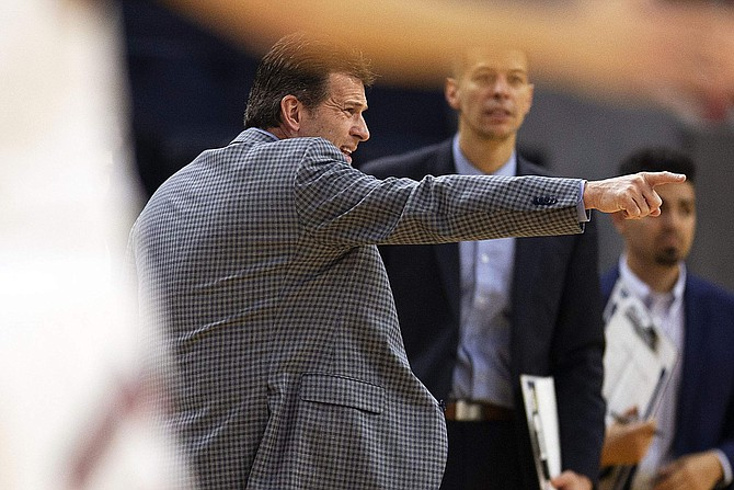 Nevada coach Steve Alford reacts to an official's call during the first half of the team's NCAA college basketball game against Saint Mary's on Saturday, Dec. 21, 2019, in San Francisco. (AP Photo/D. Ross Cameron)