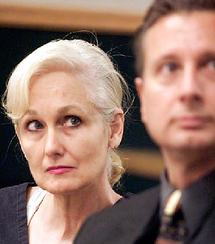 In this Feb. 22, 2001 file photo, Margaret Rudin, left, with her attorney Michael Amador, attends a hearing in Clark County District Court in Las Vegas.