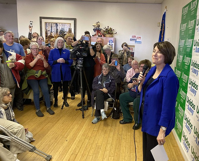 Amy Klobuchar talks to Douglas County Democrats in Minden recently. More than 200 people turned out for the event.