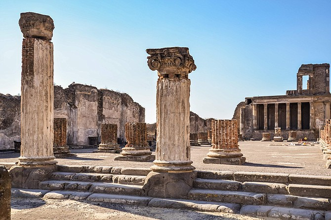 The Roman ruins still standing in the Lost City of Pompeii, a UNESCO site, provide insight into the culture of the peoples living in the year 79 AD.  Pompeii is about 15 miles from Naples.