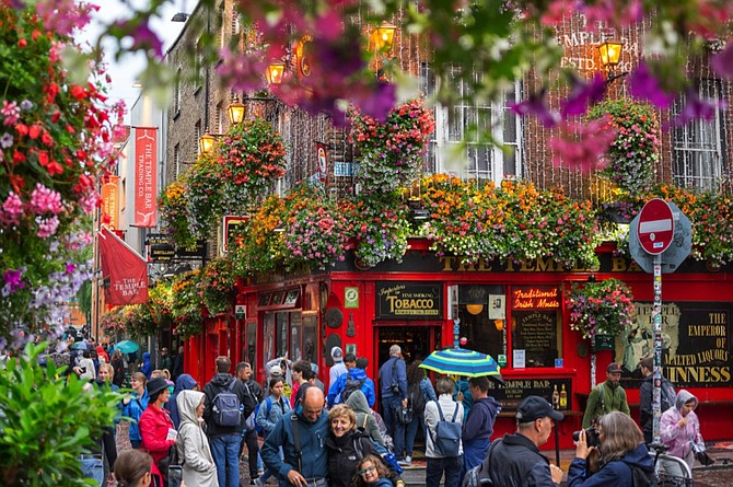 The famous Temple Bar in Dublin is a great place to sing Irish song and join others in a toast to Ireland.