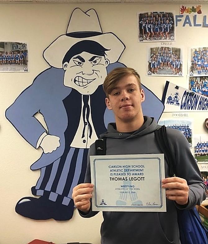 CHS Athletic Department;s Athlete of the Week is Thomas Legott for Varsity Boys Wrestling.