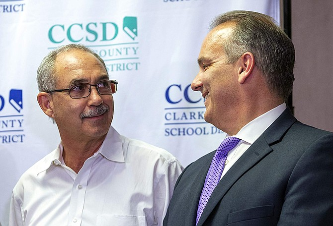 John Vellardita, left, executive director of the Clark County Education Association, and Clark County School District Superintendent Jesus Jara attend a news conference at CCSD headquarters in Las Vegas on Aug. 28. Las Vegas-area teachers want to ask Nevada voters to approve a state constitutional amendment to hike taxes on the largest casinos in the state to raise as much as $315 million a year.