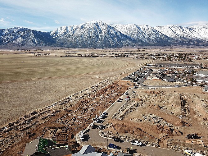 """A bird's-eye view of Carter Hill Homes' single-family home project in Gardnerville called """"The Cottages."""" It' just one of many deveopment projects regional construction crews are working on in 2020."""