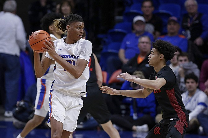 Boise State guard Derrick Alston (21) handles the ball against San Diego State guard Trey Pulliam (4) during the second half of an NCAA college basketball game, Sunday, Feb. 16, 2020, in Boise, Idaho. San Diego State won 72-55. (AP Photo/Steve Conner)