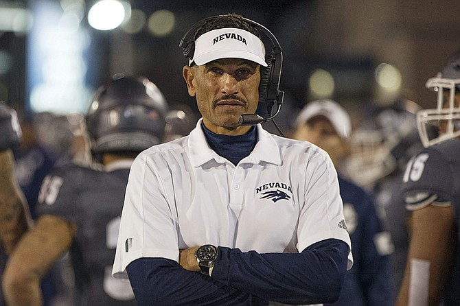Jay Norvell shown against New Mexico in Reno on Nov. 2. Based on his first three seasons, Norvell ranks sixth (tied with his predecessor, Brian Polian) all time among Nevada football coaches, Joe Santoro says.