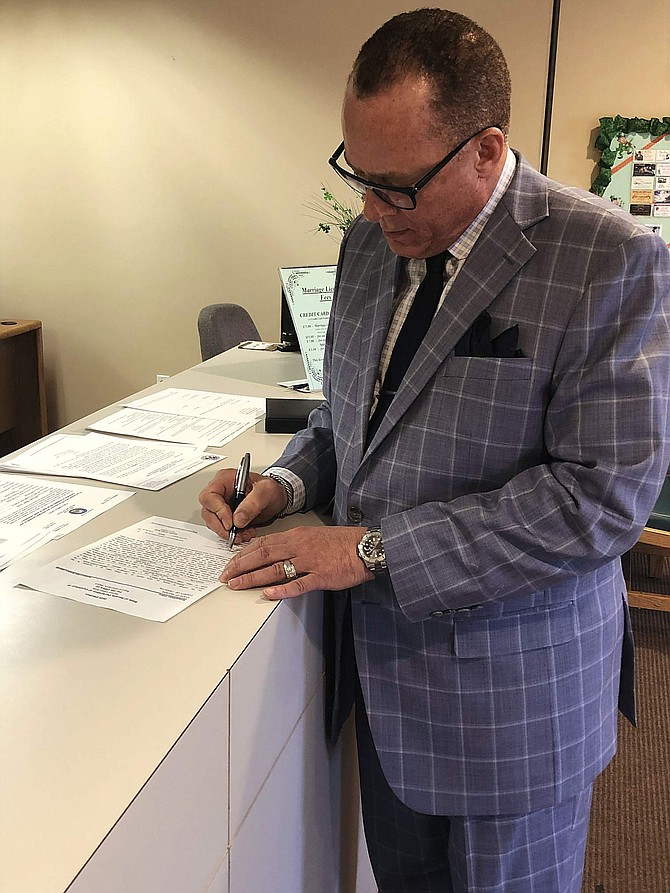 Michael Smith, a candidate for Supervisor Ward 4, filed with the Clerk-Recorder on Tuesday.
