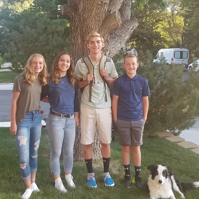 From left, Gracie, Chloe, Kaden and Kael Walt on the first day of school of the 2019-20 school year.