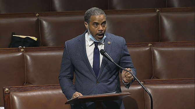 FILE - In this Thursday, April 23, 2020, file image taken from video, Rep. Steven Horsford, D-Nev., speaks on the floor of the House of Representatives at the U.S. Capitol in Washington. Horsford, on Saturday, May 16, acknowledged he had an extramarital affair with a woman who said the on-and-off relationship began in 2009 before ending last September. A spokeswoman for Horsford indicated he does not plan to resign, as at least one Republican opponent suggested.