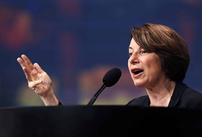 Then-Democratic presidential candidate Sen. Amy Klobuchar, D-Minn., speaks to union members during an International Union of Painters and Allied Trades convention at Caesars Palace in Las Vegas on Wednesday, Aug. 14, 2019.