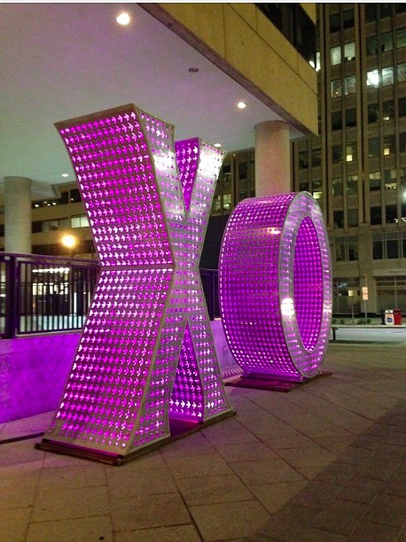 An illuminated sculpture by artist Jeff Schomberg.