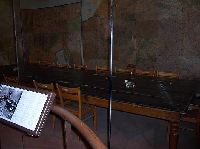 This is the room with the table and chairs where General Alfred Jodl signed the unconditional surrender document while sitting in the middle chair closest to you on May 8, 1945.